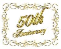 cinquantesimo Illustrazione dell'invito 3D di anniversario Fotografie Stock Libere da Diritti