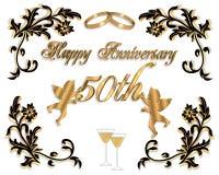 cinquantesimo Invito 3D di anniversario di cerimonia nuziale Immagine Stock Libera da Diritti