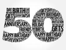 Cinquantesimo nuvola felice di parola di compleanno illustrazione vettoriale