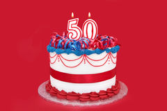 cinquantième Gâteau Photographie stock libre de droits