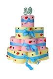 cinquantième gâteau d'anniversaire effectué à partir du papier hygiénique Photos stock