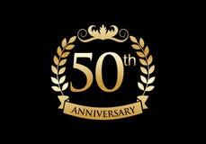 cinquantième, logo de luxe de célébration d'anniversaire illustration stock