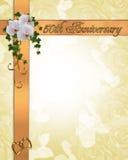 cinquantième orchidées d'invitation d'anniversaire illustration de vecteur