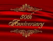 cinquantième rouge d'invitation d'anniversaire illustration stock