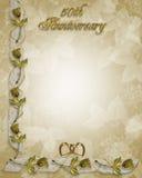 cinquantième roses de cadre d'anniversaire Photos libres de droits