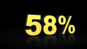 Cinquantotto rappresentazioni di per cento 3D di 58% illustrazione di stock