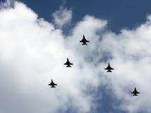 Cinque aerei da caccia moderni Fotografia Stock Libera da Diritti
