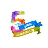 5 cinque anni di anniversario royalty illustrazione gratis