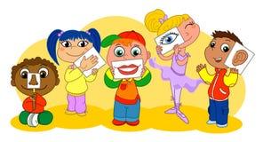 Cinque bambini di sensi Immagini Stock