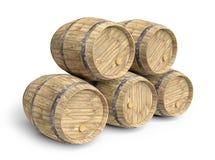 Cinque barilotti di vino illustrazione vettoriale