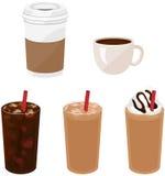 Cinque bevande del caffè Fotografia Stock