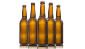 Cinque bottiglie di birra di vetro isolate su fondo bianco Immagini Stock
