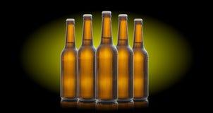 Cinque bottiglie di birra di vetro isolate su fondo nero Immagine Stock