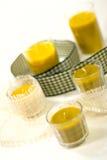 Cinque candele gialle Fotografia Stock