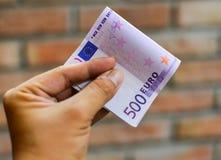 Cinque centinaia 500 euro banconote Immagini Stock Libere da Diritti