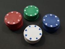 Cinque chip di mazza colorati Fotografia Stock