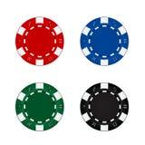 Cinque chip di mazza colorati Fotografie Stock Libere da Diritti