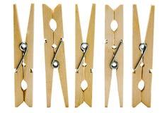 Cinque clothespins fotografia stock