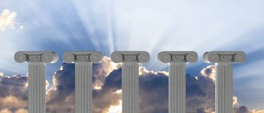 Cinque colonne di marmo di islam o giustizia e punti sul fondo del cielo blu illustrazione 3D Fotografia Stock