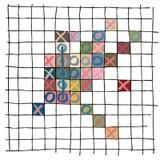Cinque colorati in un gioco con alcuni colori limitati, un profilo ondulato disegnato a mano di fila, in base alla spazzola rusti royalty illustrazione gratis