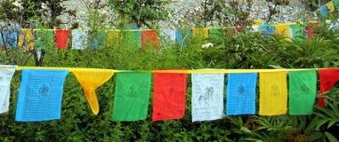 Cinque colori delle bandiere di buddismo tibetano Immagine Stock Libera da Diritti
