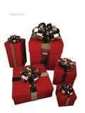 Cinque contenitori di regalo rossi con il nastro dell'oro Immagine Stock Libera da Diritti