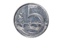 Cinque corone La valuta della repubblica Ceca Macro foto di una moneta Ceco descrive una moneta della cinque-corona svedese Fotografie Stock