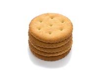 Cinque cracker, isolati su bianco Immagini Stock Libere da Diritti