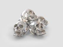 Cinque crani a cristallo Fotografie Stock