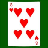 Cinque cuori Icona del vestito della carta, simboli delle carte da gioco royalty illustrazione gratis