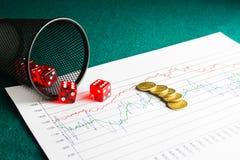 Cinque dadi e monete sul diagramma finanziario Immagini Stock