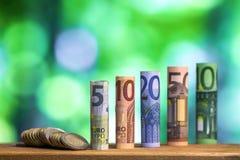 Cinque, dieci, venti, cinquanta e cento euro hanno rotolato il bankn delle fatture Immagini Stock