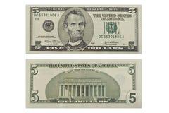 Cinque dollari Fotografia Stock