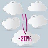 Cinque etichette delle nuvole Illustrazione di Stock