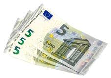 Cinque euro su un fondo bianco! Fotografie Stock
