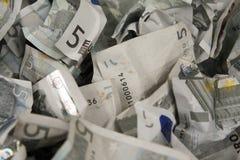 Cinque fatture degli euro Immagine Stock