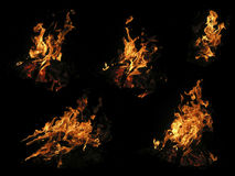 Cinque fiamme del falò Fotografia Stock Libera da Diritti