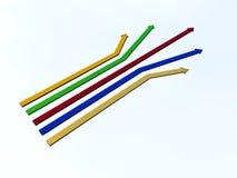 Cinque frecce di colore Fotografia Stock