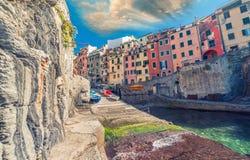 cinque Italy riomaggiore terre Malowniczy miasteczko Pięć ziemi, Włochy Fotografia Stock