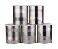 Cinque latte del metallo Fotografia Stock