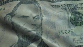 Cinque macro del primo piano della banconota da cinque dollari di Bill Closeup Stati Uniti del dollaro 5 usd di banconota archivi video