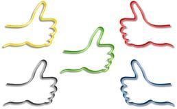 Cinque mani colorate con il pollice su Fotografia Stock