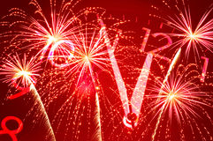 Cinque minuti a dodici e fuoco d'artificio Immagine Stock Libera da Diritti