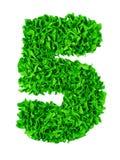 cinque Numero fatto a mano 5 dai residui di carta verdi Immagini Stock