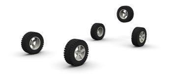 Cinque nuove rotelle di automobile fuori strada Immagine Stock