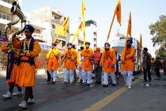 Cinque ones scelti in una processione religiosa sikh Fotografia Stock Libera da Diritti