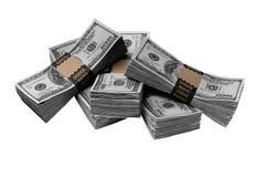 Cinque pacchetti cento fatture del dollaro Immagine Stock