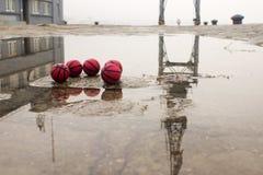 Cinque pallacanestro sulla via con la riflessione nella pozza fotografie stock