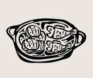 Cinque pani e due pesci, progettazione di vettore di arte Immagini Stock