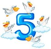 Cinque pellicano e numero cinque illustrazione di stock
